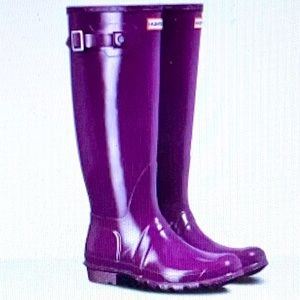 SALE Hunter Orig.Tall Gloss Violet Boots Sz7 NWT